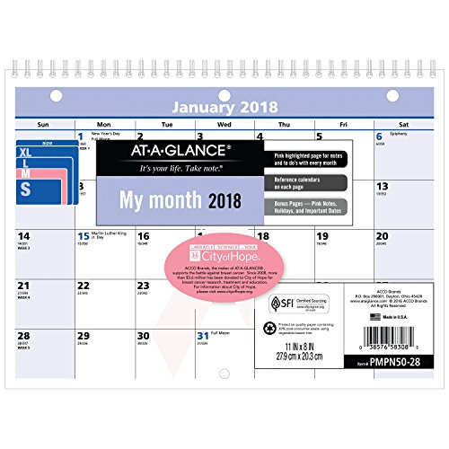 AT-A-GLANCE Monthly Wall Calendar, QuickNotes, January 2018 - December 2018, 11