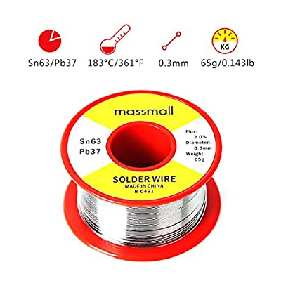 massmall Sn63 Pb37 Tin Lead Rosin Core Solder Wire for Electrical Solderding 0.0119inches(0.3mm) 0.143 lbs(65g)