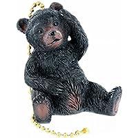 Jumbo Black Bear Ceiling Fan / Light Pull - Scratching Head Bear Cub Lodge Cabin Decor