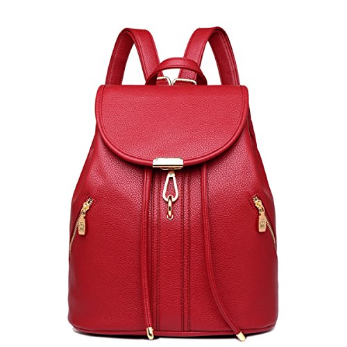 LAIDAYE Bolso De Cuero Ocasional De La PU De La Moda Sra. Rojo