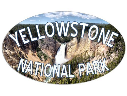 OVAL Yellowstone WATERFALL Scene Sticker (national park) (Park Waterfall)