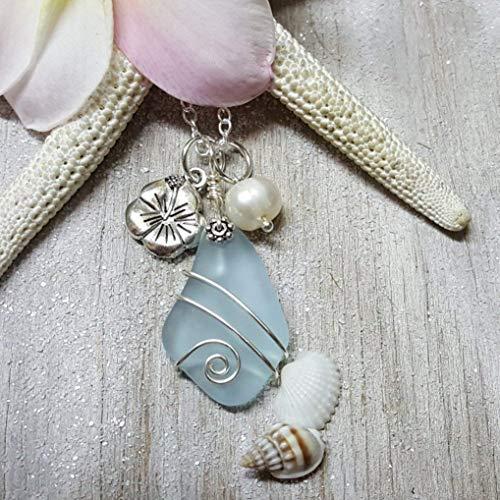 Fait /à la main /à Hawaii perle deau douce, Hawa/ï cadeau emball/é, personnalisable message cadeau le cobalt//bleu saphir collier en verre de la mer /« Septembre Birthstone /»
