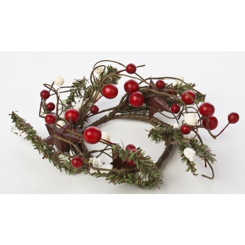 Primitive Pine with Mixed Berries, Rusty Stars and Snow Accent Candle Rings or Small Wreaths (Berry Small Candle)