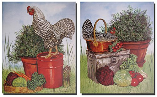 (Wall Decoration Picture Chicken Rooster Barred Plymouth Rock Kitchen Two Set Art Print Poster (8x10))