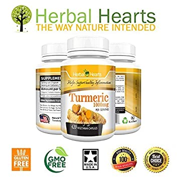 1 Organic Turmeric Curcumin 1000mg 100 Pure Extract Vegetarian Capsules Herbal Hearts Premium Tumeric Non-GMO l Turmeric Supplement 420