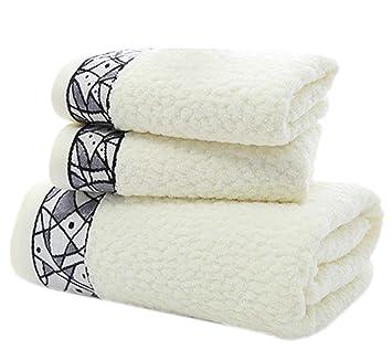 Conjunto de Toallas de algodón Suave Conjunto de Toallas de baño hogar de Tres (una Toalla de baño y Dos Toallas): Amazon.es: Hogar