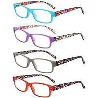Liansan Lectores Pack de 4primavera bisagras rectangular anteojos de lectura Comfort Prescription anteojos l3710