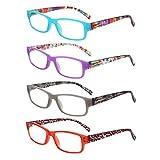 LianSan Readers 4 Pack Spring Hinged Rectangular Reading Glasses Comfort Prescription Eyeglasses L3710(+2.00)