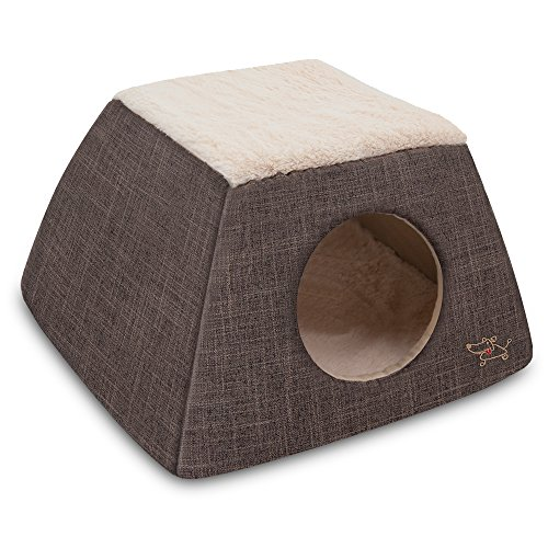 2-in-1 Cat Bed and Cave - with Plush Lining by Best Pet Supplies, Small, Dark Brown
