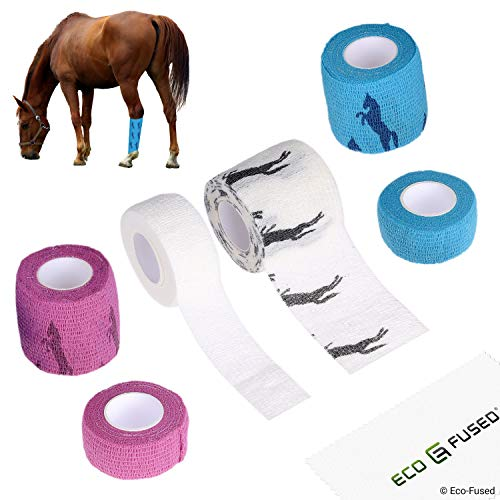 Eco-Fused Self Adhering Bandage - Injury Wrap Tape for Horses - Pack of 6 - Supports Muscles and Joints - Does not Stick to Hair - Elastic, Water Repellent, Breathable - Relieves Stress (for Horses)