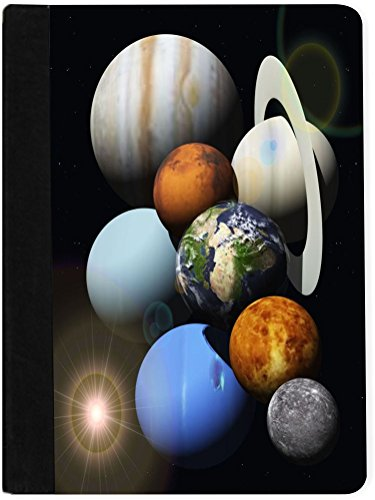 Solar System Notepad - Rikki Knight Solar System Planets Faux Suede Notebook Binder Portfolio (Ruled Notebook included)