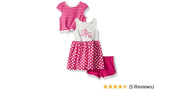 Popover Top /& Short Knit Printed Dress Youngland Girls Little 3 Pc Set