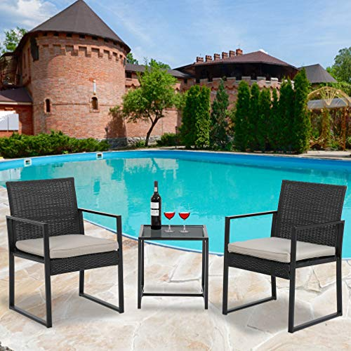 3 Piece Wicker chair Bistro Set Patio Furniture Set Outdoor Rattan Chairs Wicker Conversation Set for Backyard Porch Poolside Lawn,Black
