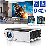 Video Projector Wi-Fi Bluetooth High Brightness 5000 Lumen LCD Smart Home Entertainment Projectors Full HD 1080P Support Wireless Screen Cast to Smart Phone Max 200