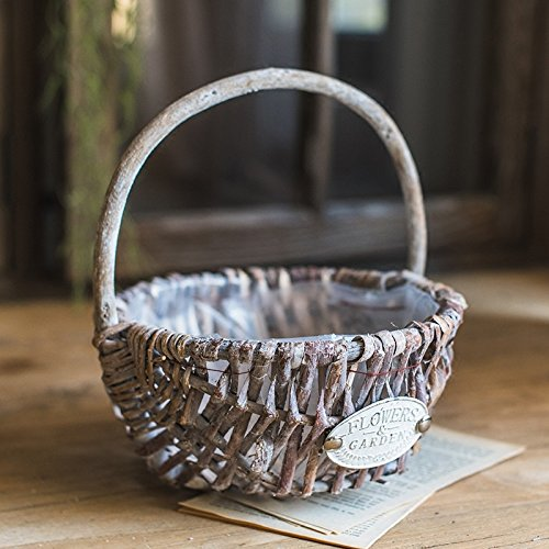 G Home Collection Rustic Handmade Willow Basket with Carry Handle (Set of - Collection Basket Rectangular