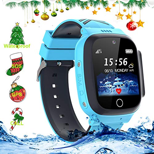 LDB Direct Kids Waterproof Smartwatches,LBS/GPS Tracker SOS Call Voice Chatting Two Way Call Smart Watch Phone with Games Touch Screen for Children 3-12 Girls Boys Christmas Birthday Gift (Blue)