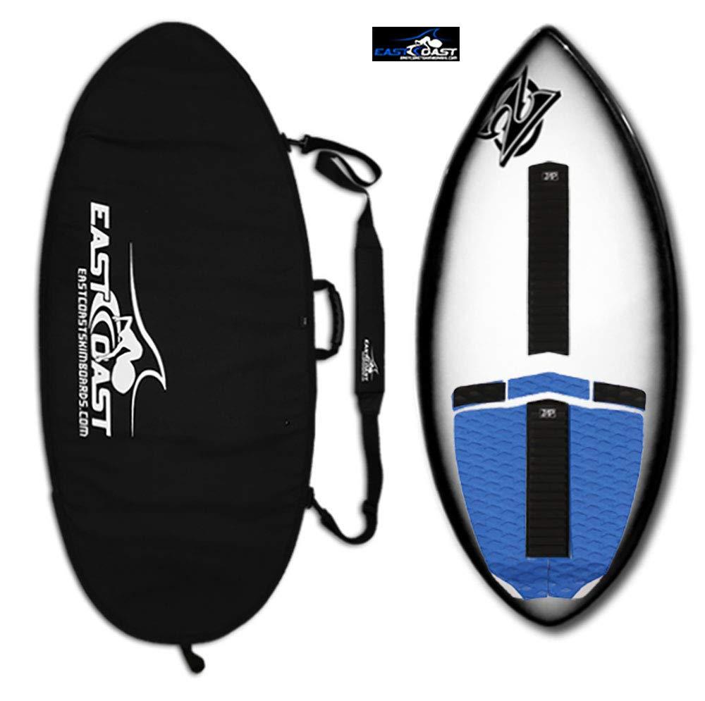 "East Coast Skimboards Deluxe Skimboard Package - Zap Wedge Medium 45"" - Black Halo - Rider Weight Limit 140 lbs - Black Bag (Blue Black - Zap Traction)"
