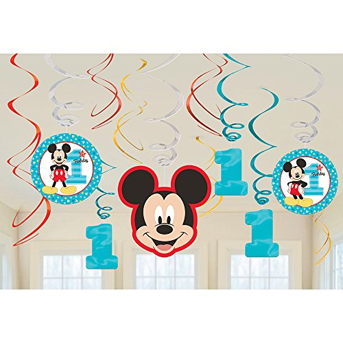 Amscan 1st Birthday Mickey Mouse Swirl Decorations 12Count Party Supplies Mickey Fun to Be One! One Size, Multicolor ()