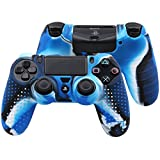 Pandaren STUDDED Anti-slip Silicone Cover Skin Set for PS4 /SLIM /PRO controller(CamouBlue controller skin x 1 + FPS PRO Thumb Grips x 8)