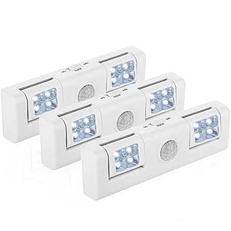 GRDE® Tres Unidades 8 LED Lamparas Inteligentes Super Brillantes Luz Nocturna Para Armario/Bar