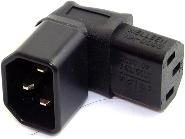IPOTCH Adattatore per Cavo di Alimentazione da 2 Pezzi C13 Ad Angolo Retto IEC 320 C13 Femmina AC 10A 250V