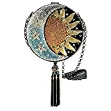 MARY FRANCES Day To Night Celestial Sun and Moon Beaded Round Handbag