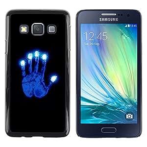 Shell-Star Arte & diseño plástico duro Fundas Cover Cubre Hard Case Cover para Samsung Galaxy A3 / SM-A300 ( Glowing Blue Hand )
