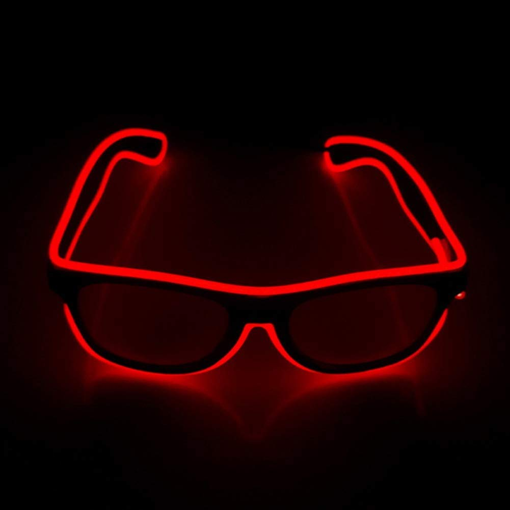 LYX Luminous LED Glasses, Cold-Light Glasses, Adjustable Glasses, Flashing LED Lighting Glasses, Novelty Party Dance Favors Luminous Glasses (Color : Red) by LYX