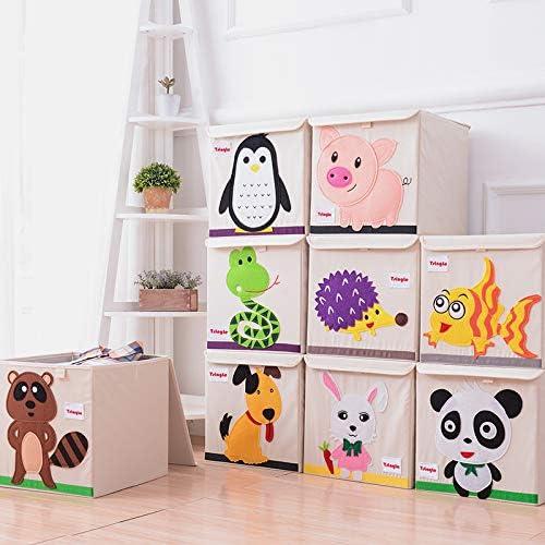 juguetes 36 L de lona de dibujos animados organizador para ropa contenedor de almacenamiento con tapa pescado zapatos 33 x 33 x 34 cm Tsingle Caja de almacenamiento plegable para ni/ños