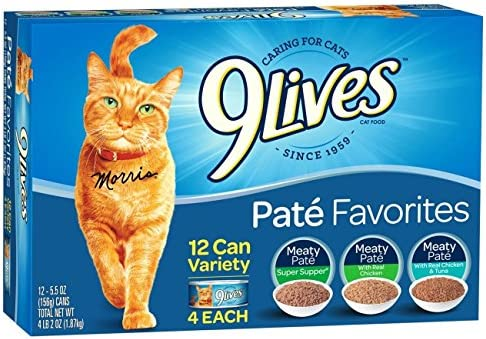 9 Lives Pate Favorites Variety Pack Canned Cat Food Pate Favorites, 2 Pack of 12