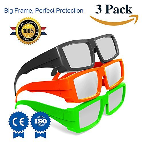 Solar Eclipse Glasses CE and ISO Certified - Safe Solar Viewing - Viewer and Filter - Eye Protection (3 Pack - Plastic Frame)