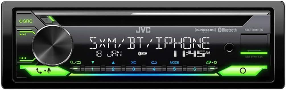 JVC KD-TD91BTS Bluetooth Car Stereo Receiver with USB Port – 2-Line LCD Display, AM/FM Radio – CD and MP3 Player - Amazon Alexa Enabled – Single DIN - 13-Band EQ (Black)