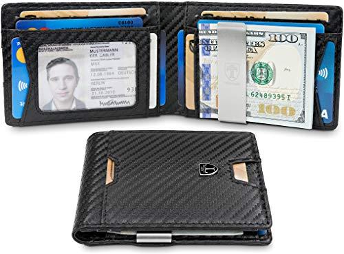 TRAVANDO Slim Wallet with Money Clip RFID Blocking Wallet | Credit Card Holder | Travel Wallet | Minimalist Mini Wallet Bifold for Men with Gift Box ()