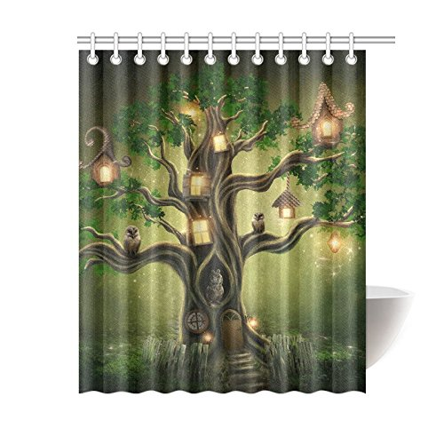 66 72inch · InterestPrint Magic Forest Tree House Home Decor, Strarry Night  Owl Polyester Fabric Shower Curtain Bathroom
