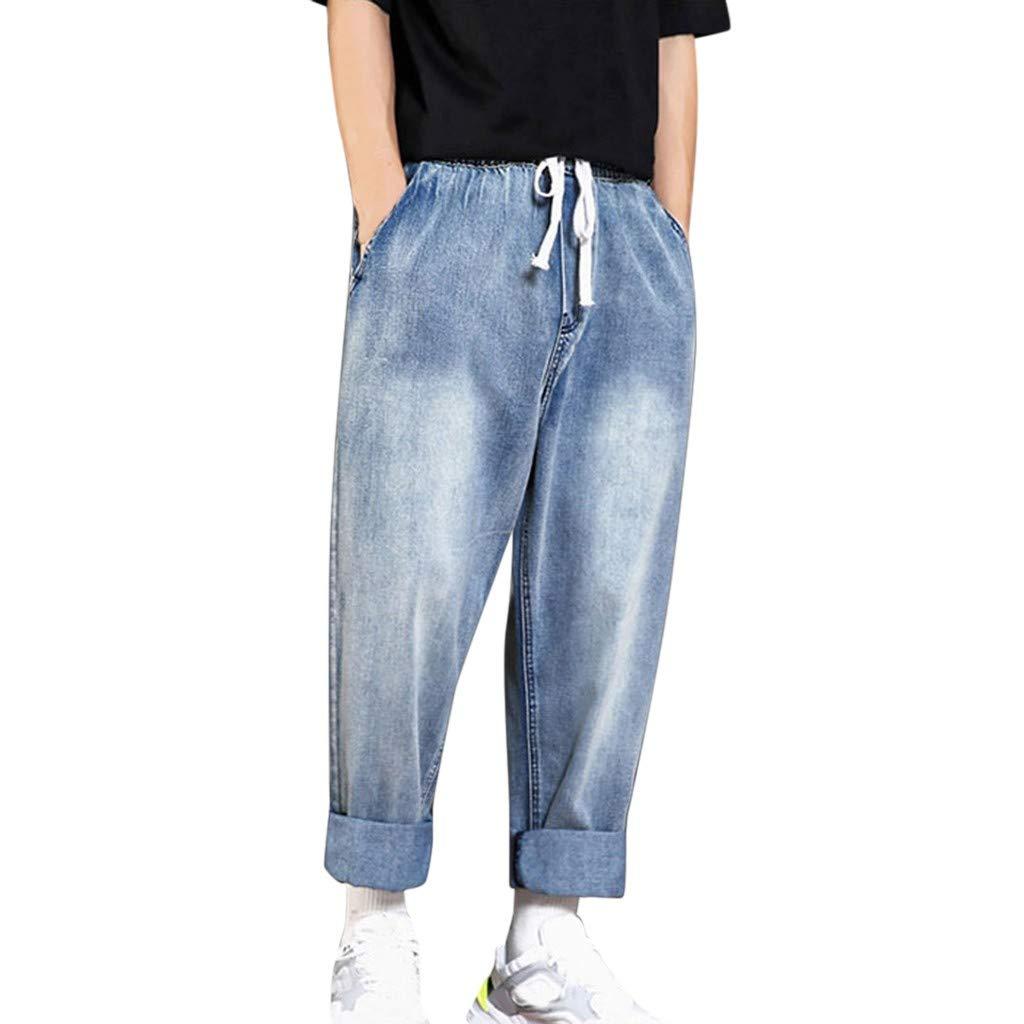 Aleola Men's Casual Denim Loose Straight Pants Jeans Long Trouser (Light Blue,XXXL) by Aleola_Men's Pants