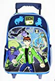 Full Size Blue Ben 10 Rolling Backpack - Ben 10 Kids Luggage with Wheels