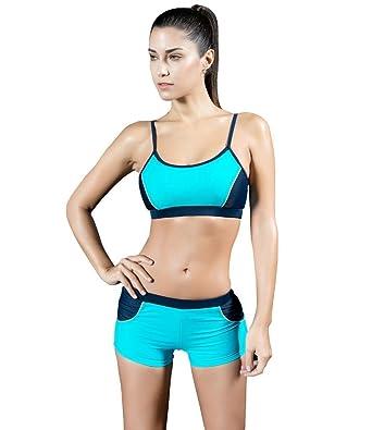 Arcweg Trajes De Baño Mujer Dos Piezas Bañadores Deportivos Bikini Natacion Con Relleno Azul 46(