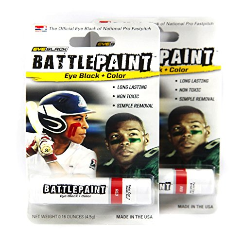 BattlePaint (2 Tubes) Red Eye Black Grease, Rich Vibrant Colors, Worn by the Pros ()