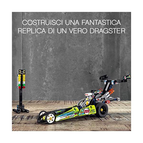 LEGO Technic - Dragster con Tecnologia PullBack, Set di Costruzioni per Bambini +7 Anni, 42103 2 spesavip