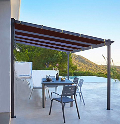 Shatex 6x10ft Wine Red Outdoor Waterproof Sunscreen Shade Panel Ready-to-tie Ropes designed for Pergola/Patio/Window/RV Awning
