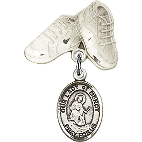 Sterling Silver Baby Badge with Our Lady of Mercy Charm and Baby Boots Pin 1 X 5/8 inches by Unknown