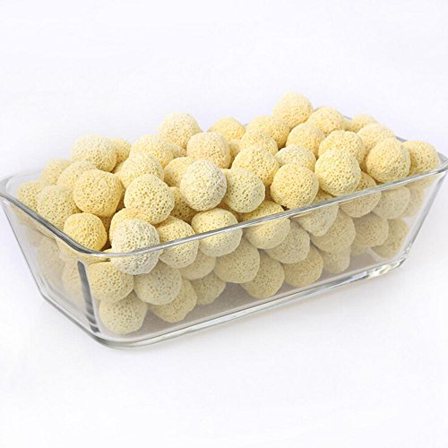 50Pcs Aquarium Porous Ceramic Sphere Filter Media Net Bag Diameter Biological Ball Fish Tank Pond Marine Freshwater Aquariums (Beige A) ()