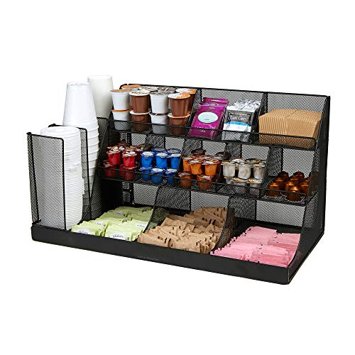 -BLK Coffee Condiment and Accessories Caddy Organizer, Black Metal Mesh ()