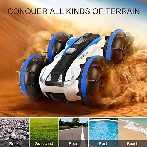KINGBOT Rc Cars, Waterproof Stunt Car Remote Control Amphibious Cars with 2 Sides Driving On Water & Land Electric Stunt Car Toys for Children (waterproof car)