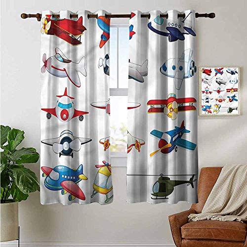 petpany Curtains for Living Room Airplane,Cartoon Style Toy Cratfs,Complete Darkness, Noise Reducing Curtain 42