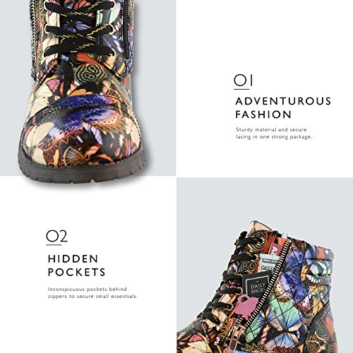 Up Pocket Bold Pu DailyShoes Combat Exclusive Butterfly Credit Boots Buckle Card High Ankle Military Women's 4wqPE