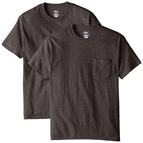 Hanes Men's 2 Pack Short Sleeve Pocket Beefy-t, Charcoal Heather, L