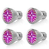 [Pack of 4]eSavebulbs 40W LED Grow Light Bulb Full Spectrum Light Bulb for Indoor Plants Veg Flower