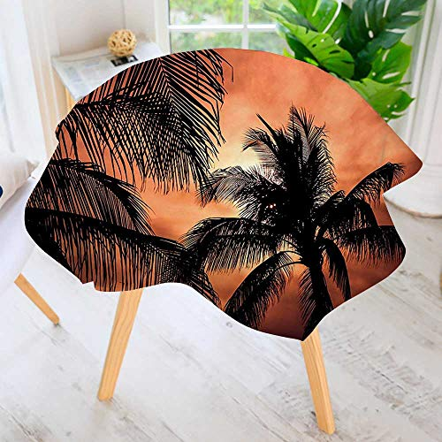 - UHOO2018 Spillproof Polyester Fabric Round Tablecloth-Tropical Theme The Silhouette of Palm Trees at Sunset Digital Print Orange Dark Elegant Printed Table Cloth 55
