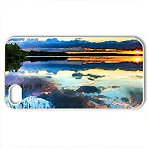 Battles pf good and Evil - Case Cover for iPhone 4 and 4s (Lakes Series, Watercolor style, White)